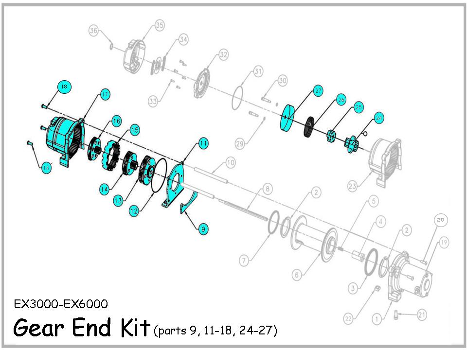 EX Standard Spool Winch Gear End Kit (Parts 4,5,8,9, 11-18
